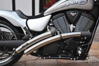 "990021 - PM American Cycles Victory,Rainbow Flat Side  With Heatshield Frt New Long Version,Headpipes 2 1/2"" VA Polished"